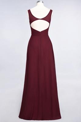 A-line Chiffon V-Neck Straps Summer Ruffles Floor-Length Bridesmaid Dress UK with Open Back_3