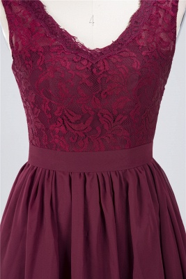 A-line Chiffon Simple Lace V-Neck Summer Knee-Length Bridesmaid Dress UK with Ruffles_4