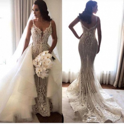 Gorgeous Spaghetti Straps Sleeveless Wedding Dress Mermaid Lace Appliques | Bridal Gowns Online_1