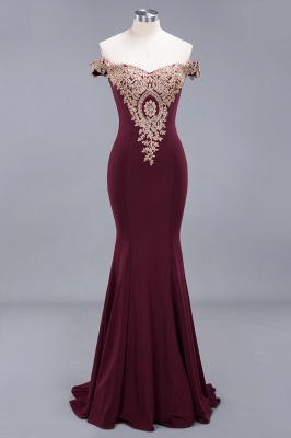 Charming Off-The-Shoulder Floor-Length Mermaid Fit and Flare Appliques Zipper Prom Dress UK_3