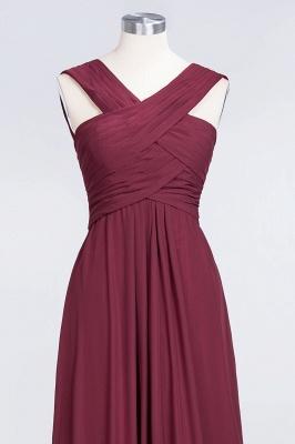 A-line Chiffon V-Neck Straps Summer Floor-Length Bridesmaid Dress UK with Ruffles_4