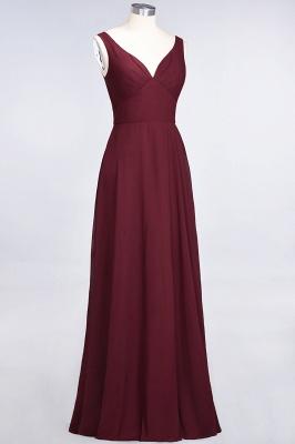 A-line Chiffon V-Neck Straps Summer Ruffles Floor-Length Bridesmaid Dress UK with Open Back_4