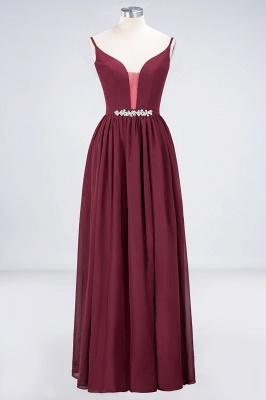 A-line Chiffon Appliques Spaghetti-Straps Deep-V-Neck Summer Floor-Length Bridesmaid Dress UK with Ruffles_1