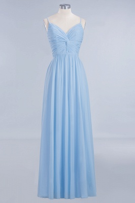 A-Line Chiffon Womens V-Neck Thin Straps Floor-Length Bridesmaid Dresses | Suzhoudress UK_1
