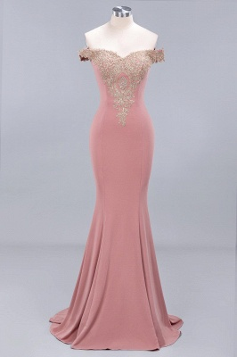 Charming Off-The-Shoulder Floor-Length Mermaid Fit and Flare Appliques Zipper Prom Dress UK_1