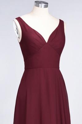 A-line Chiffon V-Neck Straps Summer Ruffles Floor-Length Bridesmaid Dress UK with Open Back_6
