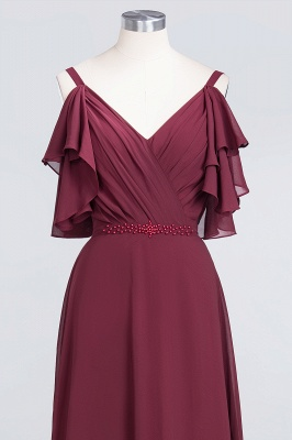 A-line Chiffon V-Neck Straps Summer Ruffles Floor-Length Bridesmaid Dress UK with Pearls_4