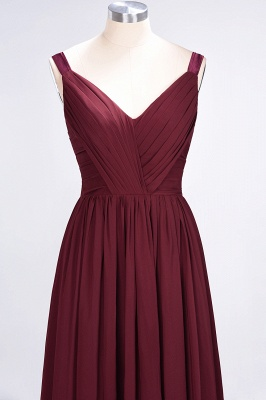 A-line Chiffon Straps V-Neck Summer Backless Floor-Length Bridesmaid Dress UK with Ruffles_5