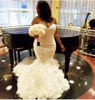 Affordable Sleeveless Sweetheart Organza Lace Appliques Mermaid Wedding Dress | Bridal Gowns On Sale_1