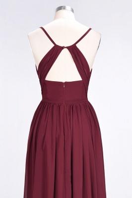 A-line Chiffon Spaghetti-Straps V-Neck Summer Floor-Length Bridesmaid Dress UK with Ruffles_6