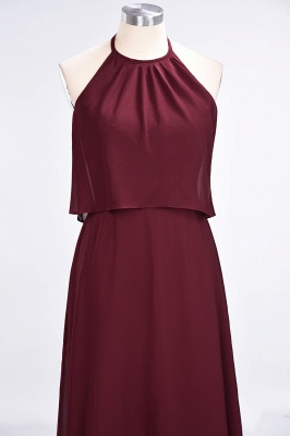 A-line Chiffon Jewel Summer Floor-Length Bridesmaid Dress UK_5