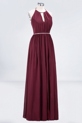 A-line Chiffon Halter Summer Floor-Length Bridesmaid Dress UK with Beading Sash_3