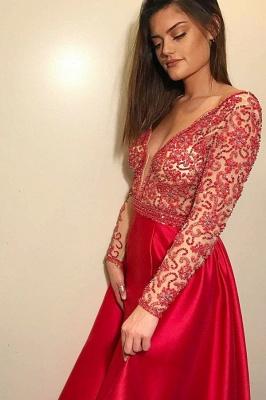 Womens Plunge V-Neck Long Sleeves Beading A-Line Online Prom Dress Sale | Suzhoudress UK_1
