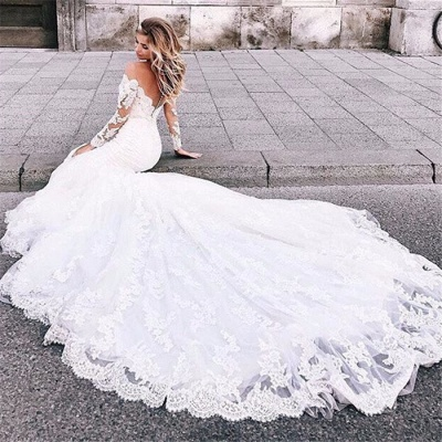 Affordable Mermaid Appliques Long Wedding Dresses Off-the-Shoulder Long Sleeves Bridal Gowns On Sale_5