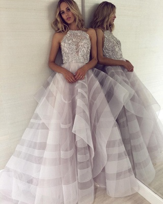 A-line Appliques Halter Summer Long Length Prom Dress UK_5
