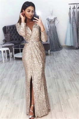 Mermaid Fit and Flare V-Neck Long-Sleeves Front-Slipt Long Prom Dress UK_1