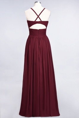 A-line Chiffon Spaghetti-Straps V-Neck Summer Floor-Length Bridesmaid Dress UK with Ruffles_36