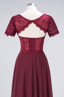A-line Chiffon Simple Lace Round-Neck Short-Sleeves Floor-Length Bridesmaid Dress UK_6