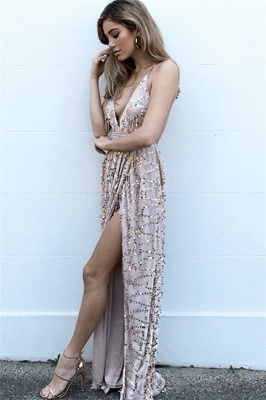 Fashion Thin Straps Womens Plunge V-Neck Teenage Front Slipt Online Prom Dress Sale | Suzhoudress UK_2