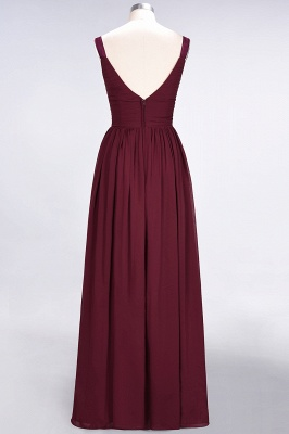 A-line Chiffon Straps V-Neck Summer Backless Floor-Length Bridesmaid Dress UK with Ruffles_3