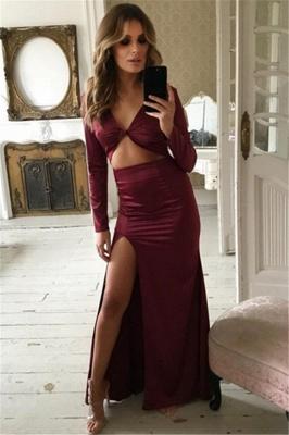 Charming Long Sleeves Womens V-Neck Front Slipt Best Fit Column Online Prom Dress Sale | Suzhoudress UK_1