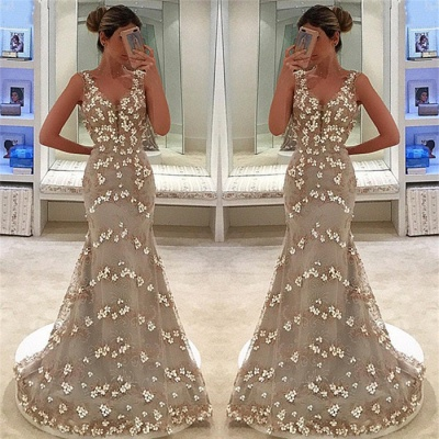 Mermaid Fit and Flare Appliques Summer Straps V-Neck Long Prom Dress UK_3