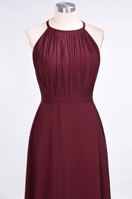 A-line Chiffon Jewel Summer Floor-Length Bridesmaid Dress UK with Ruffles_4