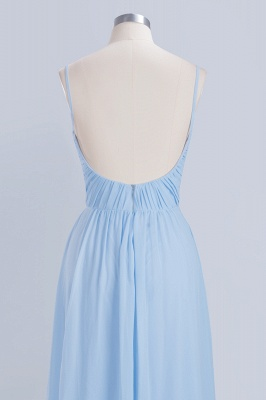 A-Line Chiffon Womens V-Neck Thin Straps Floor-Length Bridesmaid Dresses | Suzhoudress UK_6