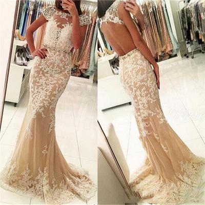 Fashion Appliques Round Neck Cap Sleeves Sexy Trumpet/Mermaid Online Prom Dress Sale   Suzhoudress UK_3