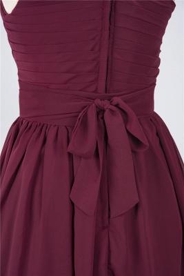 A-line Chiffon One-Shoulder Summer Knee-Length Bridesmaid Dress UK with Ruffles_5