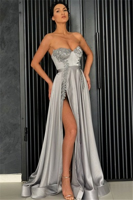 Sexy Cheap A-line Strapless Front-Slipt Prom Dress UK_1