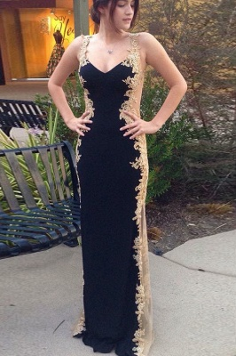 Gorgeous Black Straps Teenage Appliques Best Fit Column Online Prom Dress Sale | Suzhoudress UK_1