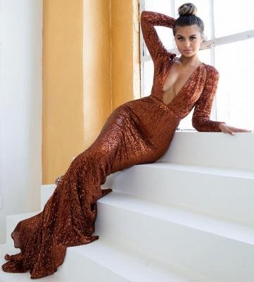 Womens Plunge V-Neck Long Sleeves Sexy Trumpet/Mermaid Online Prom Dress Sale | Suzhoudress UK_3