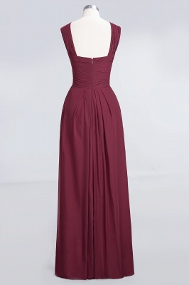 A-line Chiffon V-Neck Straps Summer Floor-Length Bridesmaid Dress UK with Ruffles_2