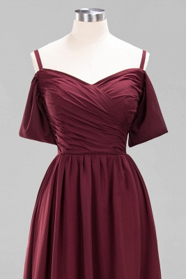 A-Line Chiffon Womens V-Neck Thin Straps Short-Sleeves Floor-Length Bridesmaid Dresses with Ruffles | Suzhoudress UK_11