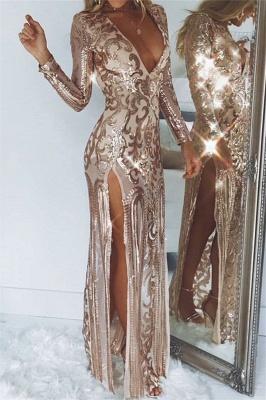 Womens Plunge V-Neck Long Sleeves Front Slipt Best Fit Column Online Prom Dress Sale | Suzhoudress UK_1