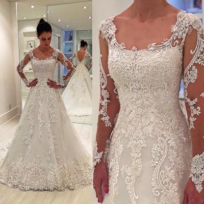 Unique Long Sleeves Appliques Square Neck A-Line Wedding Dress   Bridal Gowns Online_3