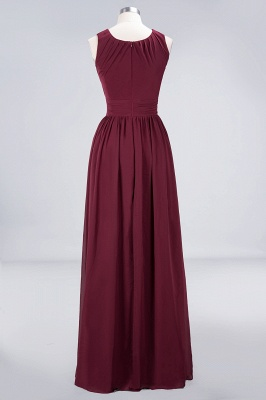 A-line Chiffon Round-Neck Summer Floor-Length Bridesmaid Dress UK with Ruffles_2