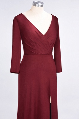 A-line Spandex V-Neck Long-Sleeves Side-Slit Floor-Length Bridesmaid Dress UK with Ruffles_35
