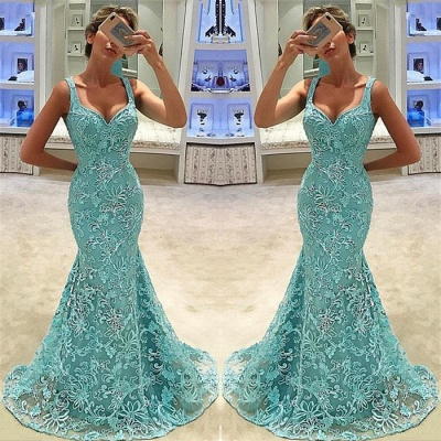 Mermaid Fit and Flare Straps Appliques Summer Long Prom Dress UK_3