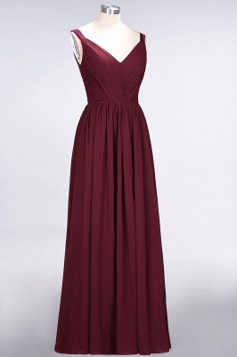 A-line Chiffon Straps V-Neck Summer Backless Floor-Length Bridesmaid Dress UK with Ruffles_4
