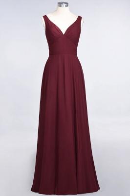 A-line Chiffon V-Neck Straps Summer Ruffles Floor-Length Bridesmaid Dress UK with Open Back_2