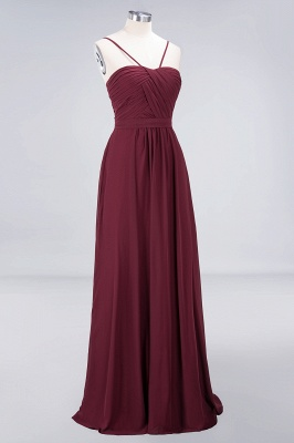 A-line Chiffon Sweetheart Spaghetti-Straps Backless Floor-Length Bridesmaid Dress UK with Ruffles_3
