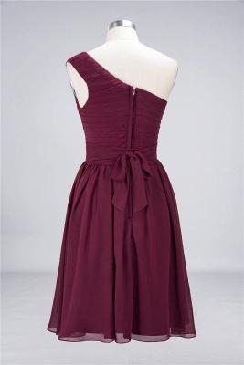 A-line Chiffon One-Shoulder Summer Knee-Length Bridesmaid Dress UK with Ruffles_3