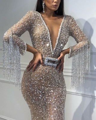 Sexy Trumpet/Mermaid Tulle Shining Sequins Womens Plunge V-Neck 3/4 Sleeves Floor-Length Online Prom Dress Sale with Tassels | Suzhoudress UK_4