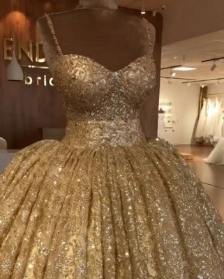 Luxurious Spaghetti Straps SleevelssBall Gown Crystals Prom Dress UKes UK_1