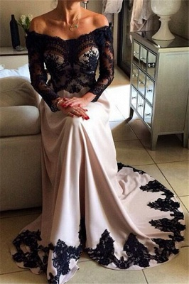 Charming Off-the-Shoulder Appliques Long Sleeves A-Line Online Prom Dress Sale | Suzhoudress UK_1