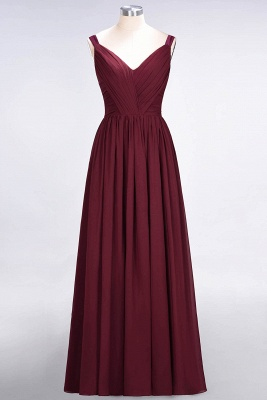 A-line Chiffon Straps V-Neck Summer Backless Floor-Length Bridesmaid Dress UK with Ruffles_2