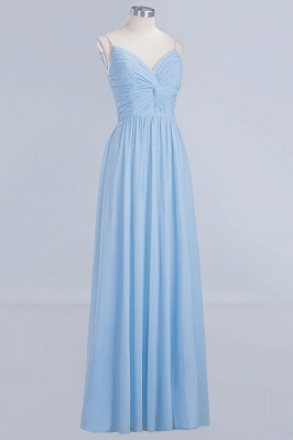 A-Line Chiffon Womens V-Neck Thin Straps Floor-Length Bridesmaid Dresses | Suzhoudress UK_3