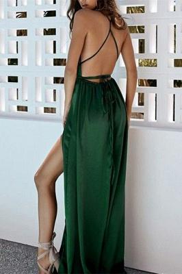 Womens Plunge V-Neck Halter Front Slipt A-Line Online Prom Dress Sale   Suzhoudress UK_2